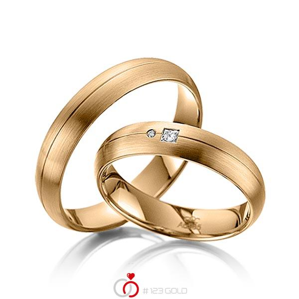 Paar klassische Trauringe/Eheringe in Roségold 585 mit zus. 0,035 ct. Prinzess-Diamant & Brillant tw, si von acredo - A-4005-2