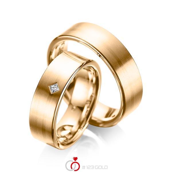 Paar klassische Trauringe/Eheringe in Roségold 585 mit zus. 0,03 ct. Prinzess-Diamant tw, si von acredo - A-1060-3