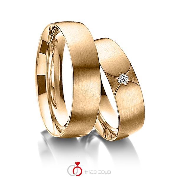 Paar klassische Trauringe/Eheringe in Roségold 585 mit zus. 0,04 ct. Prinzess-Diamant tw, si von acredo - A-3010-6