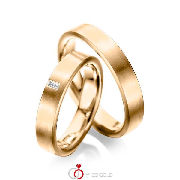 Paar klassische Trauringe/Eheringe in Roségold 585 mit zus. 0,05 ct. Baguette-Diamant tw, vs von acredo - A-1022-8
