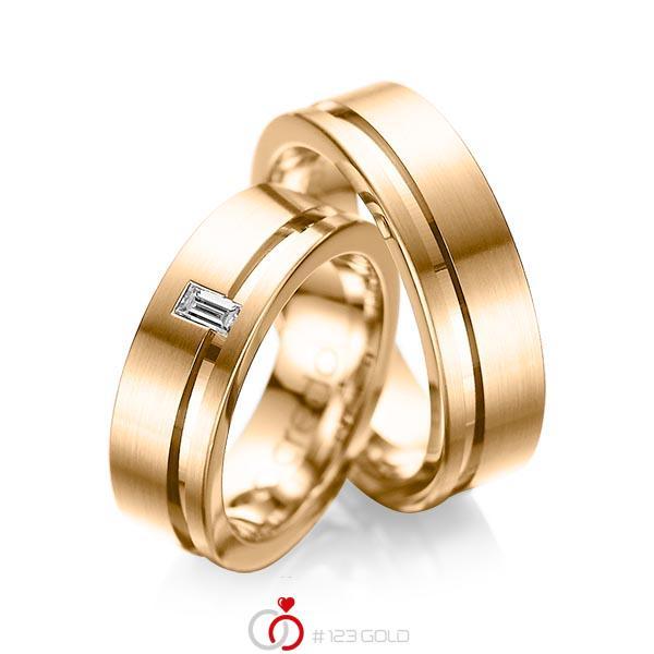 Paar klassische Trauringe/Eheringe in Roségold 585 mit zus. 0,12 ct. Baguette-Diamant tw, vs von acredo - A-1017-3