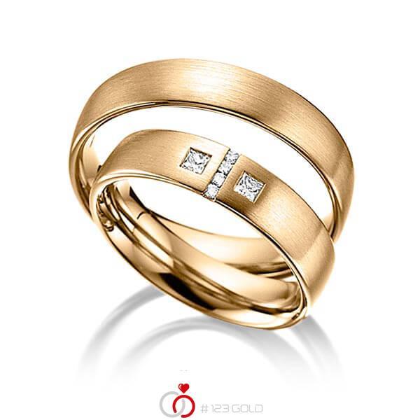 Paar klassische Trauringe/Eheringe in Roségold 585 mit zus. 0,132 ct. Brillant & Prinzess-Diamant tw, si von acredo - A-6004-5