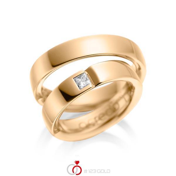 Paar klassische Trauringe/Eheringe in Roségold 585 mit zus. 0,15 ct. Prinzess-Diamant tw, si von acredo - A-1029-5