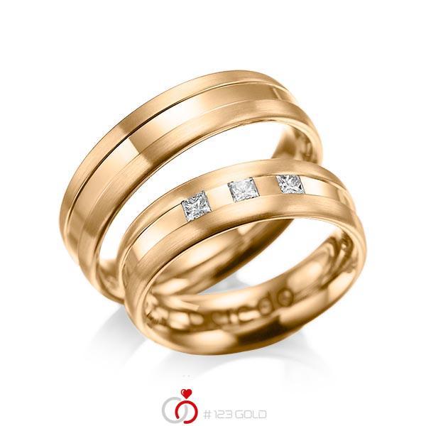 Paar klassische Trauringe/Eheringe in Roségold 585 mit zus. 0,18 ct. Prinzess-Diamant tw, si von acredo - A-1021-4