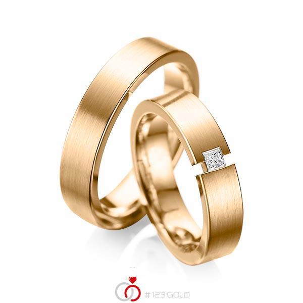 Paar klassische Trauringe/Eheringe in Roségold 585 mit zus. 0,1 ct. Prinzess-Diamant tw, si von acredo - A-1041-8
