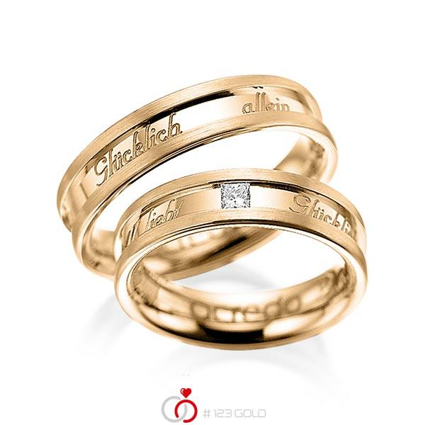 Paar klassische Trauringe/Eheringe in Roségold 585 mit zus. 0,1 ct. Prinzess-Diamant tw, si von acredo - A-1049-5