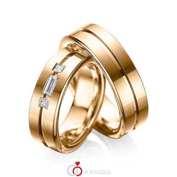 Paar klassische Trauringe/Eheringe in Roségold 585 mit zus. 0,22 ct. Baguette-Diamant & Prinzess-Diamant tw, vs von acredo - A-1011-3