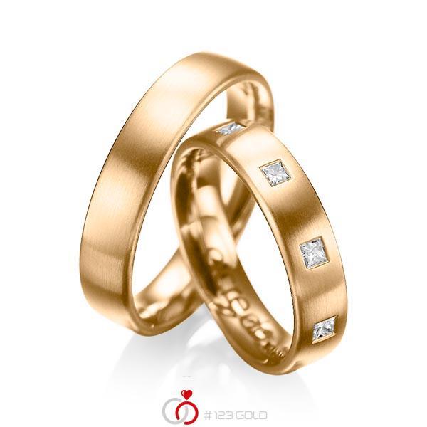 Paar klassische Trauringe/Eheringe in Roségold 585 mit zus. 0,45 ct. Prinzess-Diamant tw, si von acredo - A-1004-5