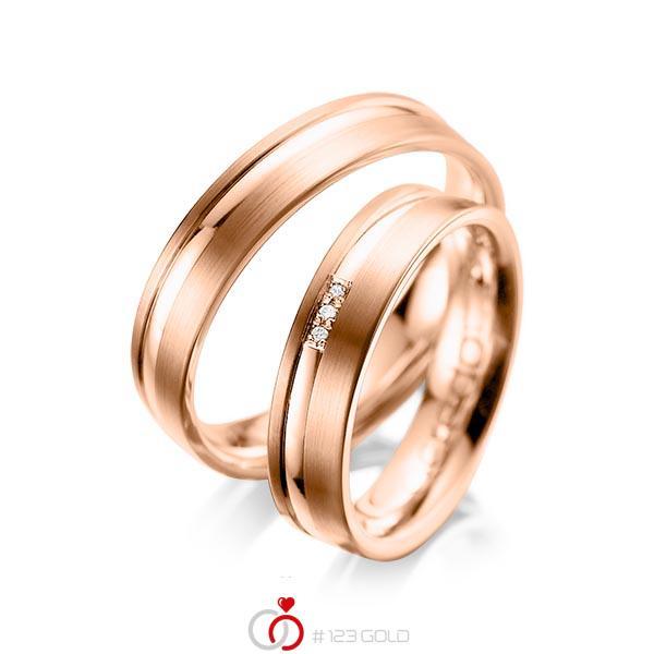 Paar klassische Trauringe/Eheringe in Rotgold 585 mit zus. 0,015 ct. Brillant tw, si von acredo - A-1039-7
