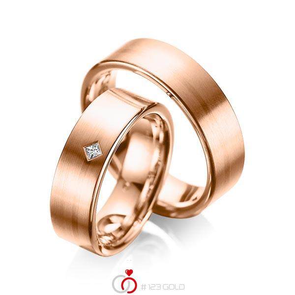 Paar klassische Trauringe/Eheringe in Rotgold 585 mit zus. 0,03 ct. Prinzess-Diamant tw, si von acredo - A-1060-6