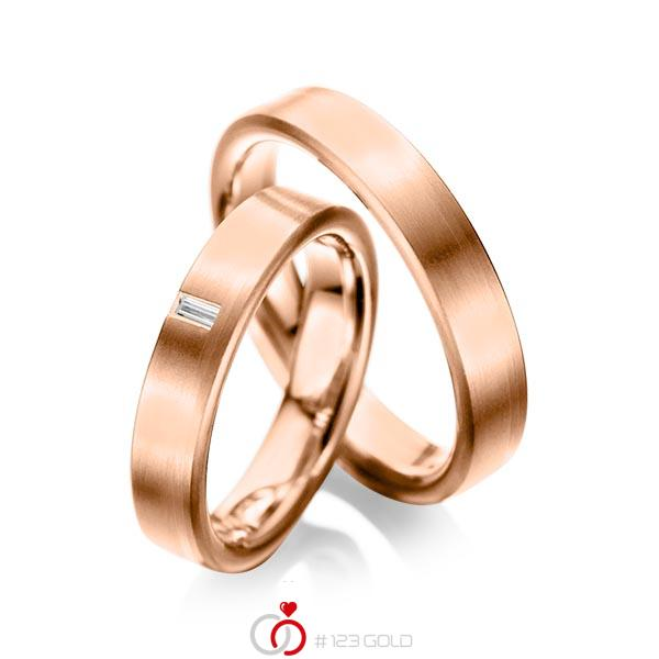 Paar klassische Trauringe/Eheringe in Rotgold 585 mit zus. 0,05 ct. Baguette-Diamant tw, vs von acredo - A-1022-11