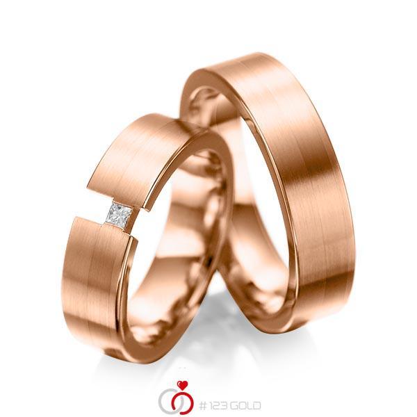 Paar klassische Trauringe/Eheringe in Rotgold 585 mit zus. 0,05 ct. Prinzess-Diamant tw, si von acredo - A-1025-16