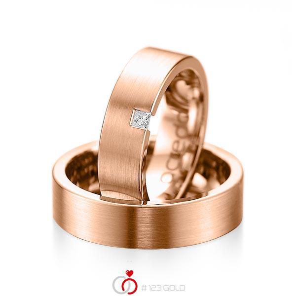 Paar klassische Trauringe/Eheringe in Rotgold 585 mit zus. 0,05 ct. Prinzess-Diamant tw, si von acredo - A-1075-6
