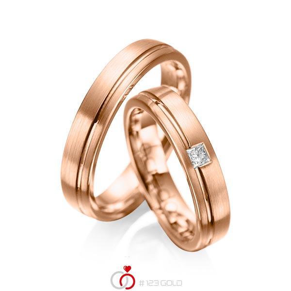 Paar klassische Trauringe/Eheringe in Rotgold 585 mit zus. 0,08 ct. Prinzess-Diamant tw, si von acredo - A-1018-12