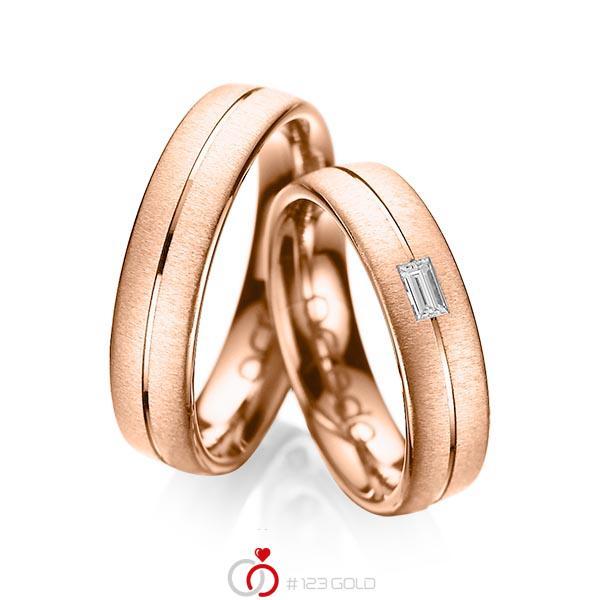 Paar klassische Trauringe/Eheringe in Rotgold 585 mit zus. 0,12 ct. Baguette-Diamant tw, vs von acredo - A-1019-12