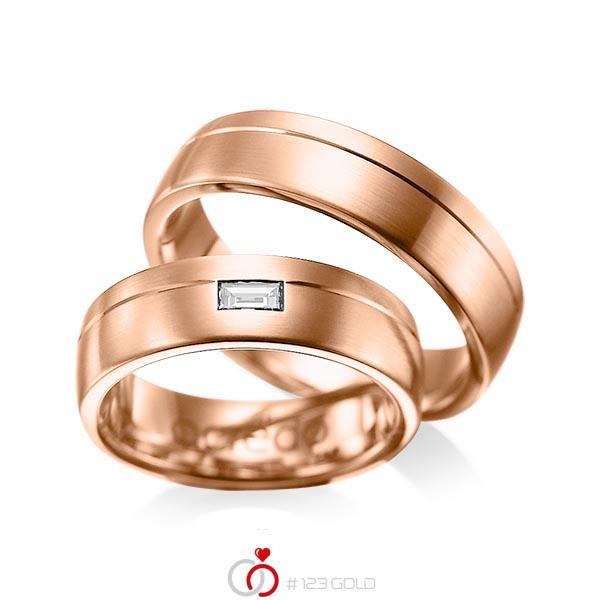 Paar klassische Trauringe/Eheringe in Rotgold 585 mit zus. 0,15 ct. Baguette-Diamant tw, vs von acredo - A-1009-6