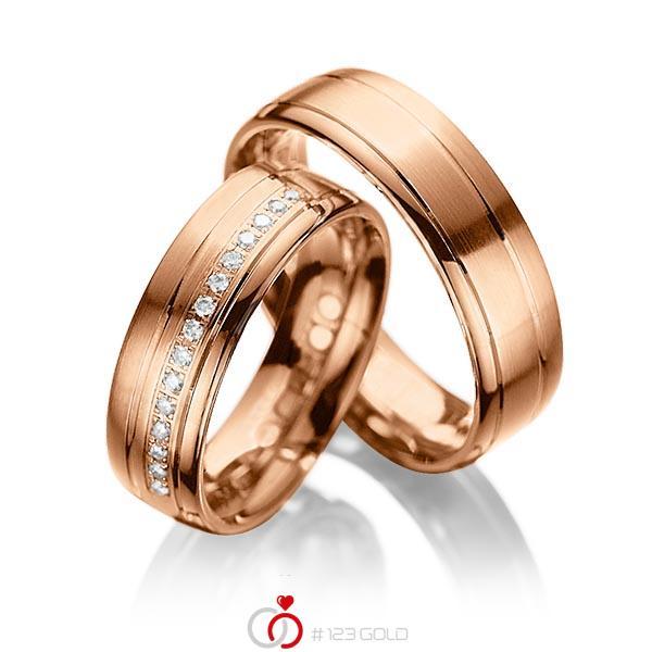 Paar klassische Trauringe/Eheringe in Rotgold 585 mit zus. 0,15 ct. Brillant tw, si von acredo - A-1034-6
