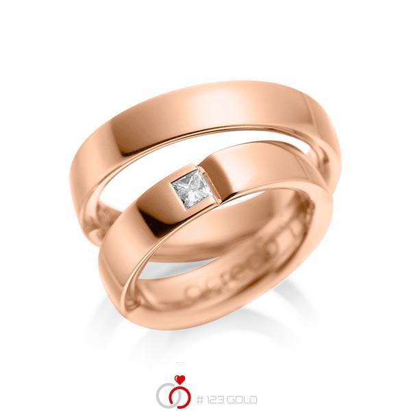 Paar klassische Trauringe/Eheringe in Rotgold 585 mit zus. 0,15 ct. Prinzess-Diamant tw, si von acredo - A-1029-6
