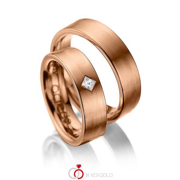 Paar klassische Trauringe/Eheringe in Rotgold 585 mit zus. 0,1 ct. Prinzess-Diamant tw, si von acredo - A-1020-6