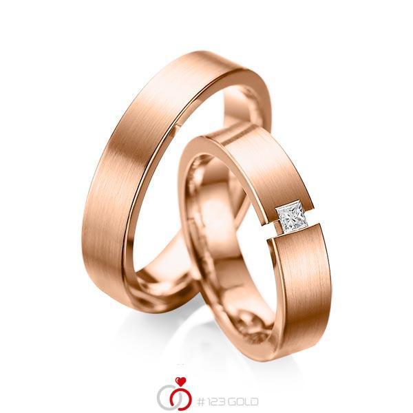 Paar klassische Trauringe/Eheringe in Rotgold 585 mit zus. 0,1 ct. Prinzess-Diamant tw, si von acredo - A-1041-9