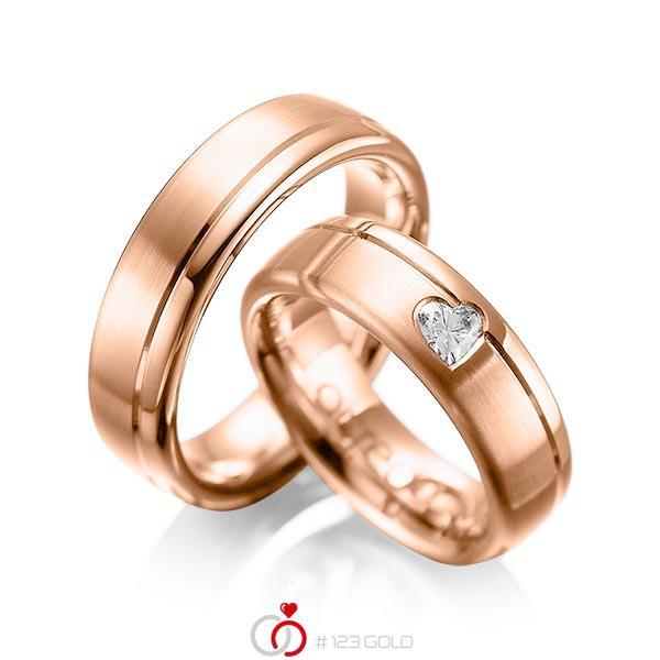 Paar klassische Trauringe/Eheringe in Rotgold 585 mit zus. 0,22 ct. Herz-Diamant tw, vs von acredo - A-1045-6