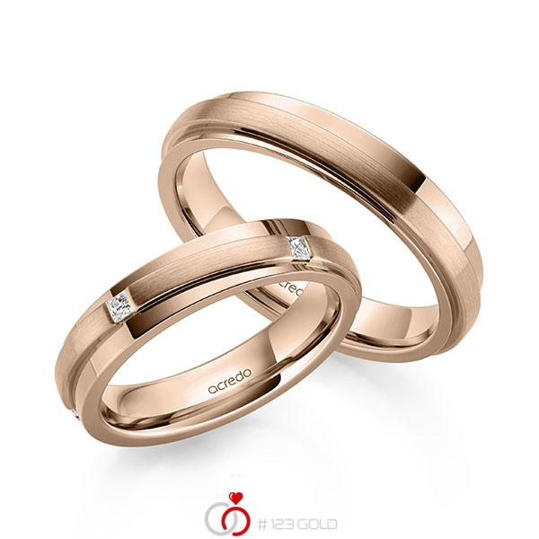 Paar klassische Trauringe/Eheringe in Rotgold 585 mit zus. 0,25 ct. Prinzess-Diamant tw, si von acredo - A-2164-7