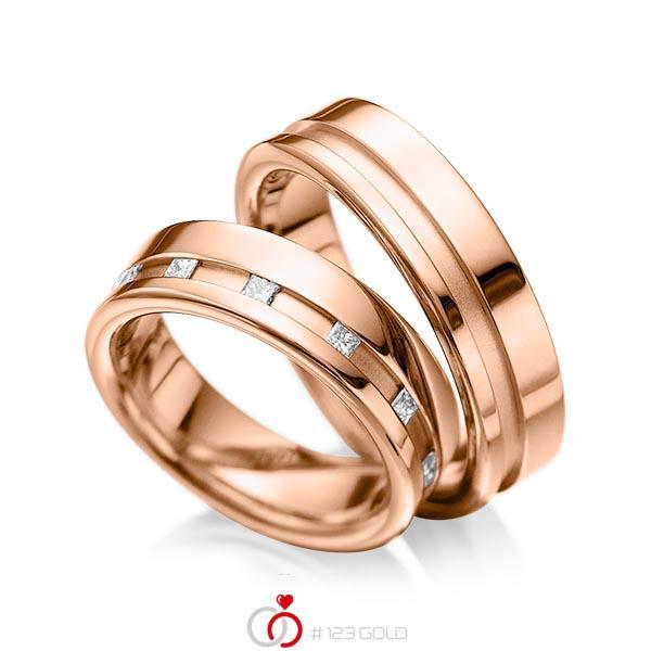 Paar klassische Trauringe/Eheringe in Rotgold 585 mit zus. 0,36 ct. Prinzess-Diamant tw, si von acredo - A-1024-6