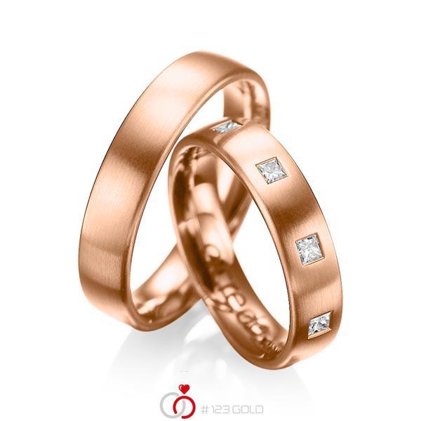 Paar klassische Trauringe/Eheringe in Rotgold 585 mit zus. 0,45 ct. Prinzess-Diamant tw, si von acredo - A-1004-6