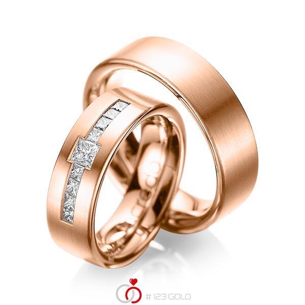 Paar klassische Trauringe/Eheringe in Rotgold 585 mit zus. 0,52 ct. Prinzess-Diamant tw, si von acredo - A-1050-6