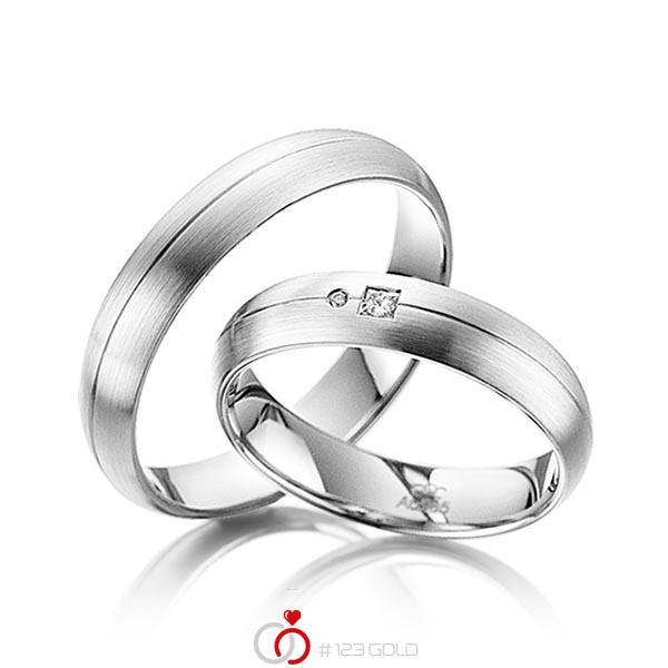 Paar klassische Trauringe/Eheringe in Weissgold 585 mit zus. 0,035 ct. Prinzess-Diamant & Brillant tw, si von acredo - A-4005-1