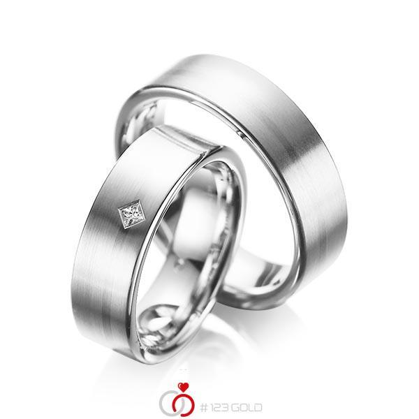 Paar klassische Trauringe/Eheringe in Weißgold 585 mit zus. 0,03 ct. Prinzess-Diamant tw, si von acredo - A-1060-7