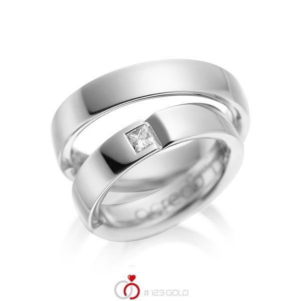 Paar klassische Trauringe/Eheringe in Weissgold 585 mit zus. 0,15 ct. Prinzess-Diamant tw, si von acredo - A-1029-1