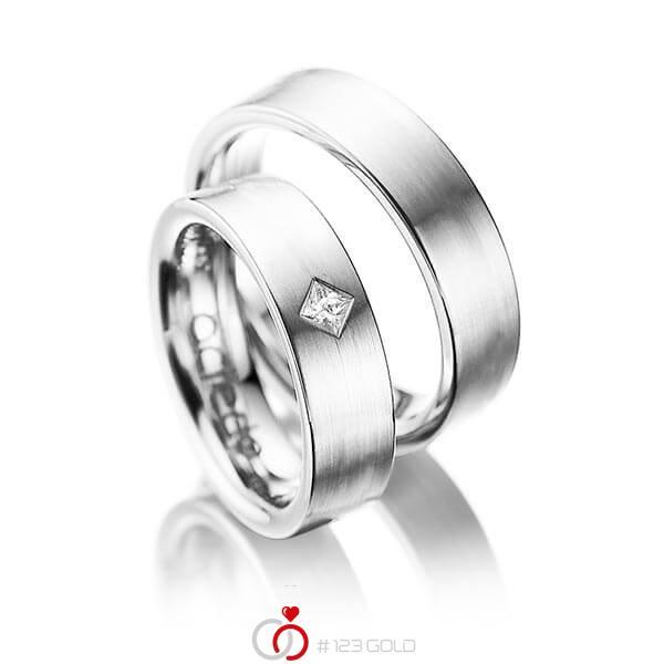 Paar klassische Trauringe/Eheringe in Weißgold 585 mit zus. 0,1 ct. Prinzess-Diamant tw, si von acredo - A-1020-7