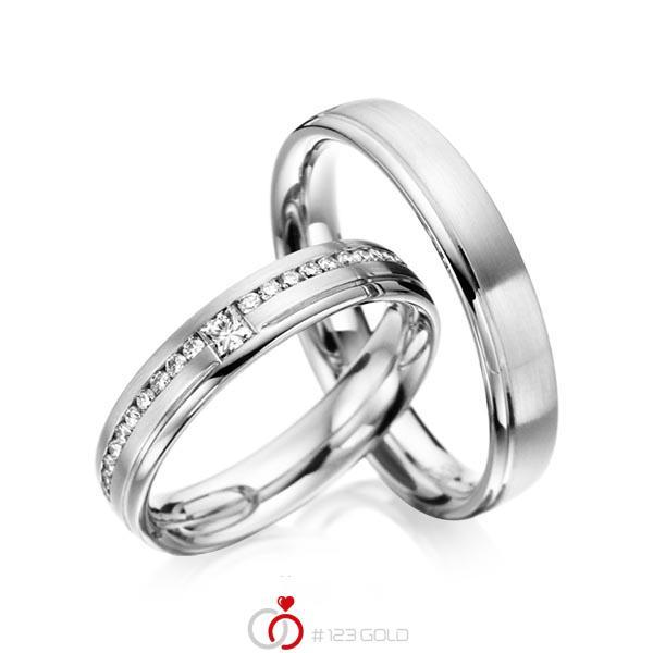 Paar klassische Trauringe/Eheringe in Weissgold 585 mit zus. 0,32 ct. Brillant & Prinzess-Diamant tw, si von acredo - A-6023-8
