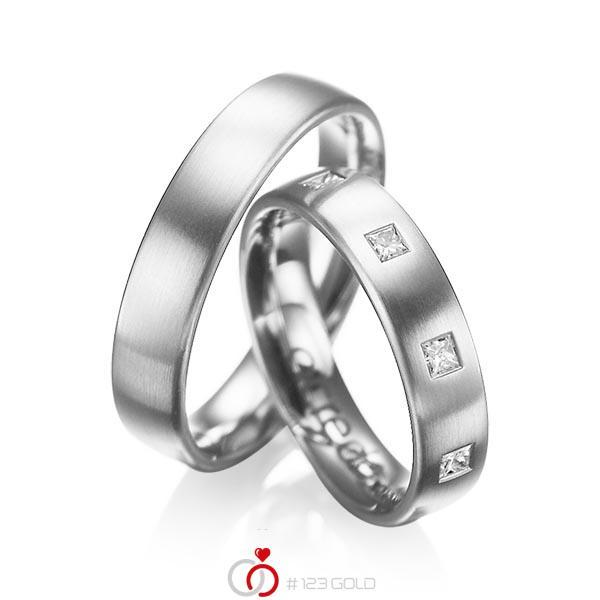Paar klassische Trauringe/Eheringe in Weißgold 585 mit zus. 0,45 ct. Prinzess-Diamant tw, si von acredo - A-1004-7
