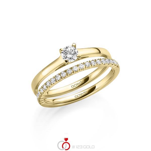 Ring-Set in geelgoud 14 kt. met in totaal 0,47 ct. Briljant tw/si tw,vs van acredo - A-2149-2
