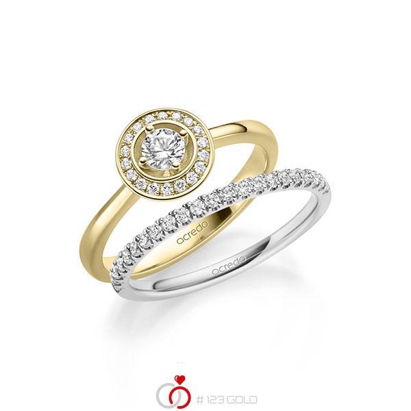 Ring-Set in geelgoud 14 kt. met in totaal 0,51 ct. Briljant tw/si van acredo - A-2158-8