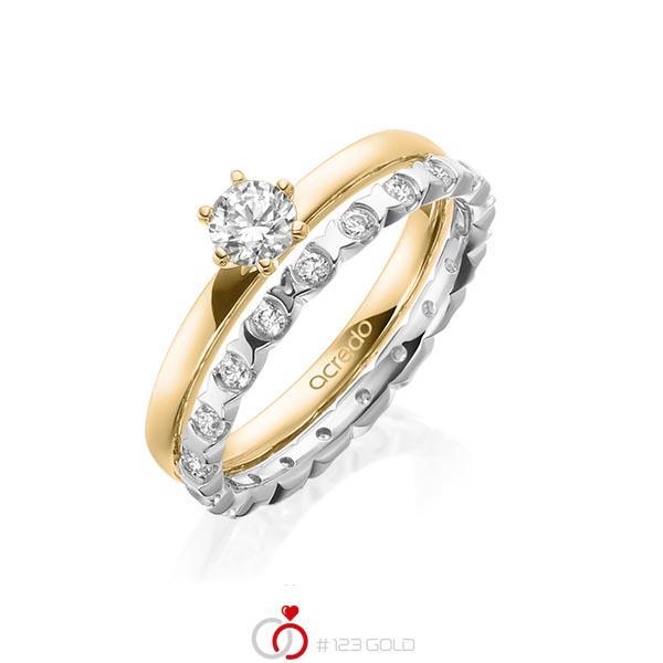 Ring-Set in Gelbgold 585 mit 0,3 ct. + zus. 0,4 ct. Brillant tw, vs von acredo - A-1997-5