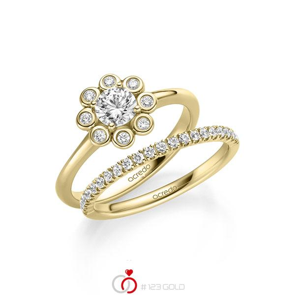 Ring-Set in Gelbgold 585 mit 0,5 ct. + zus. 0,34 ct. Brillant tw, si tw, vs von acredo - A-2157-2