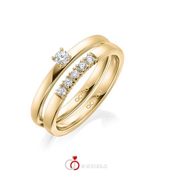 Ring-Set in Gelbgold 585 mit zus. 0,25 ct. Brillant tw, si tw, vs von acredo - A-1994-2