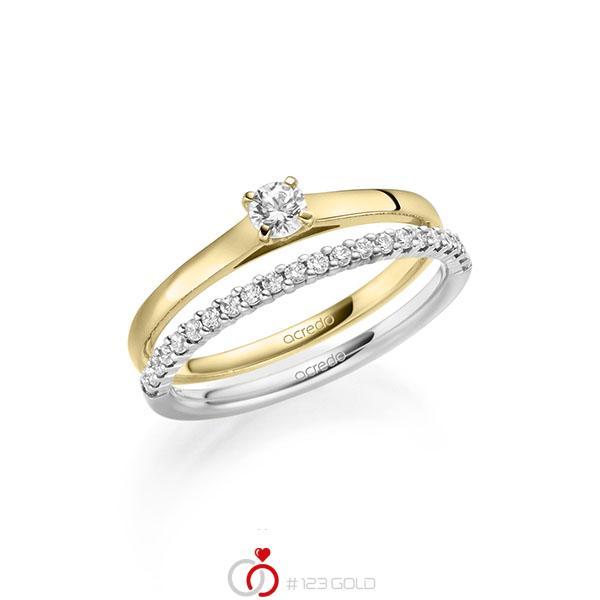 Ring-Set in Gelbgold 585 mit zus. 0,36 ct. Brillant tw, si von acredo - A-2123-8