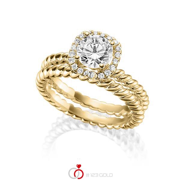 Ring Set in Gelbgold 750 mit 1 ct. + zus. 0,15 ct. Brillant tw, vs von Steinberg