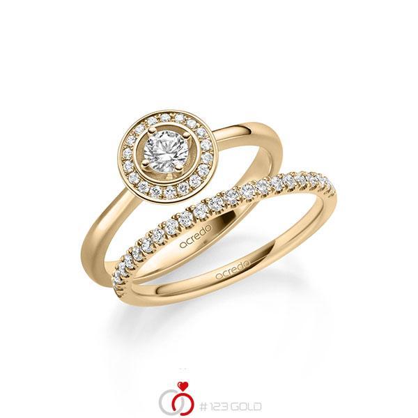 Ring-Set in roségoud 14 kt. met in totaal 0,51 ct. Briljant tw/si van acredo - A-2158-4