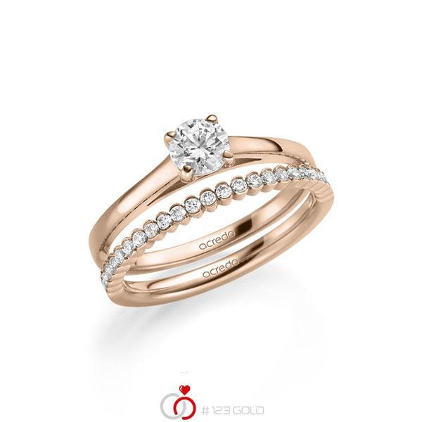 Ring-Set in Rotgold 585 mit 0,5 ct. + zus. 0,24 ct. Brillant tw, si von acredo - A-2150-3