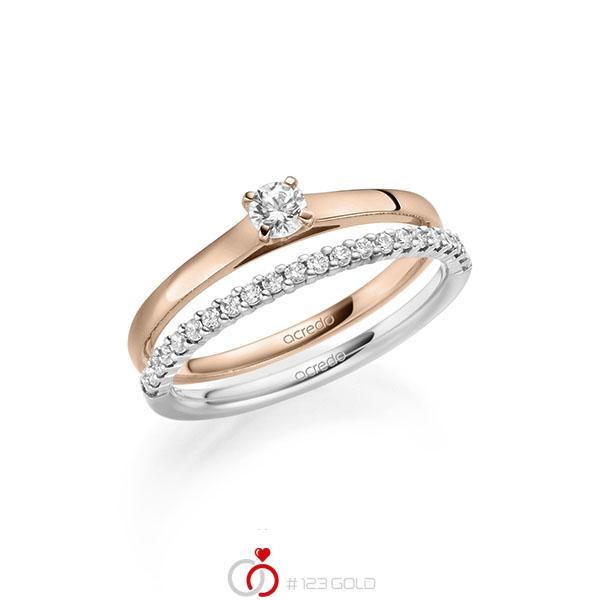 Ring-Set in Rotgold 585 mit zus. 0,36 ct. Brillant tw, si von acredo - A-2123-9