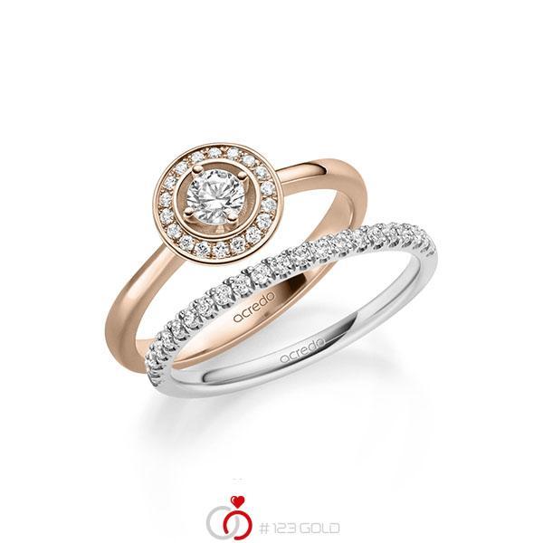 Ring-Set in Rotgold 585 mit zus. 0,51 ct. Brillant tw, si von acredo - A-2158-9