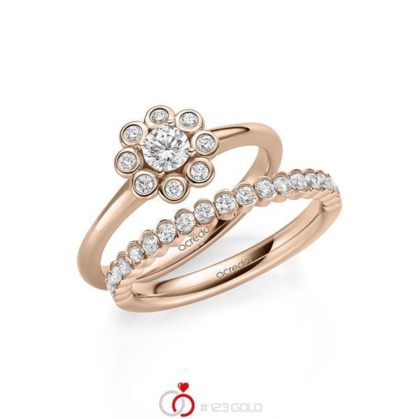 Ring-Set in Rotgold 585 mit zus. 0,75 ct. Brillant tw, si von acredo - A-2156-3