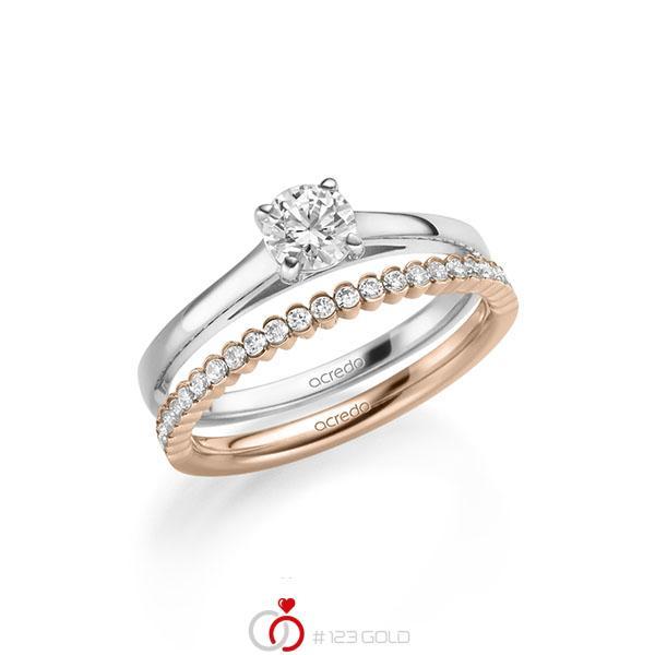 Ring-Set in Weissgold 585 mit 0,5 ct. + zus. 0,24 ct. Brillant tw, si von acredo - A-2150-6