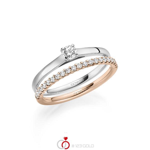 Ring-Set in Weißgold 585 mit zus. 0,36 ct. Brillant tw, si von acredo - A-2123-6