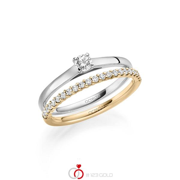 Ring-Set in Weißgold 585 mit zus. 0,36 ct. Brillant tw, si von acredo - A-2123-7